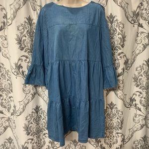 Nicole Miller | Chambray Ruffle Dress